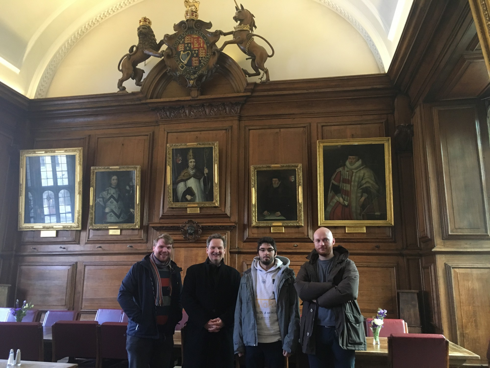 Members of the SMaRT project at the Brasenose College. From left to right: Ciaran Nash (ESR3, University of Oxford), Giles Wiggs (University of Oxford), Marko Horvat (ESR1, Politecnico di Torino) and Roberto Nuca (ESR2, Optiflow Company)